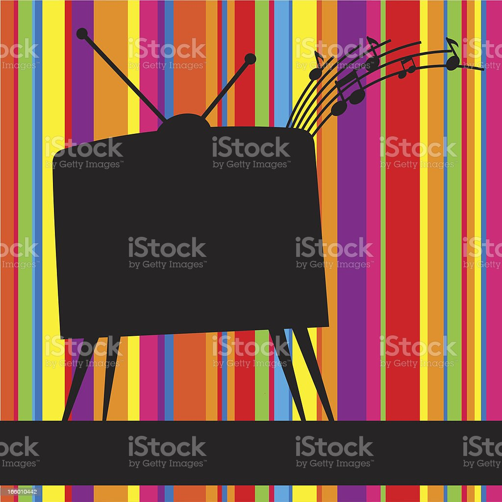 Striped background with retro TV vector art illustration