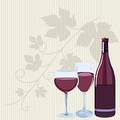 Striped Background With Wine Bottle And Glass