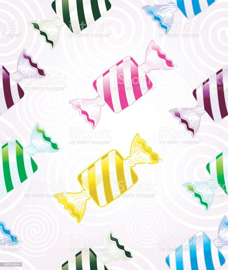 striped Bonbons (seamless pattern) vector art illustration