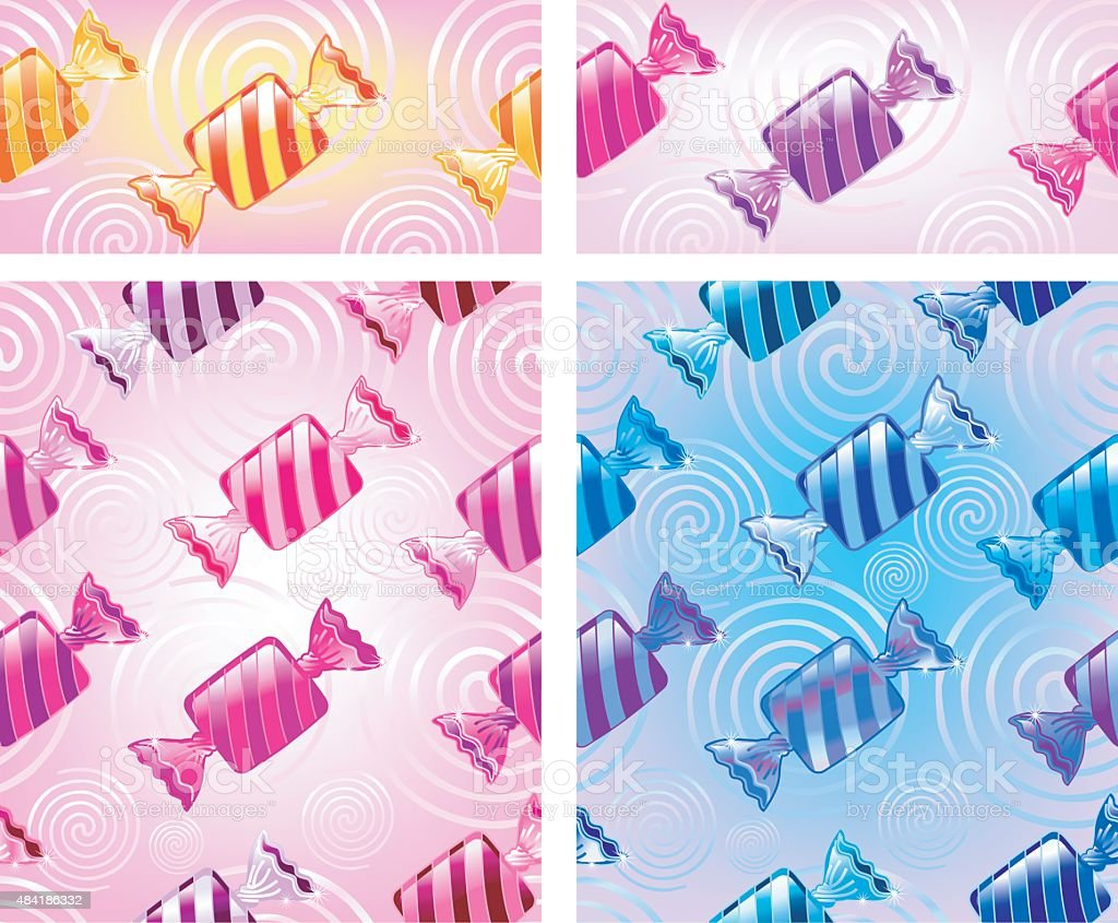 striped Bonbons (seamless pattern / 4 Various) vector art illustration