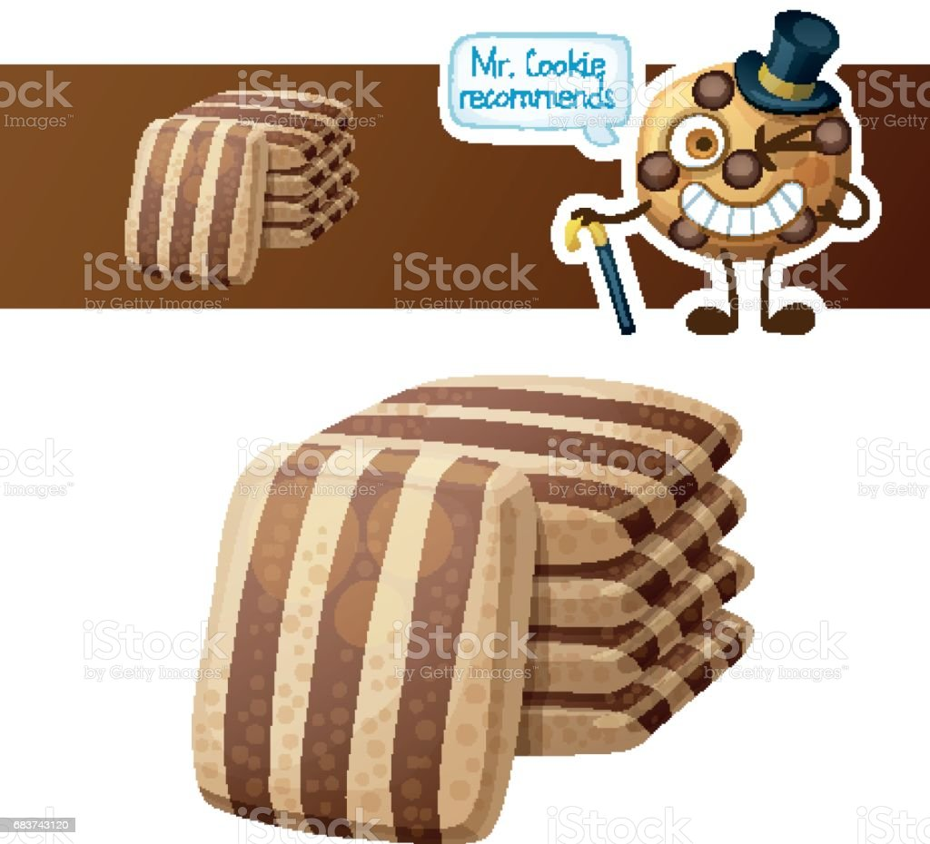 Striped chocolate cookies and cute funny cookie character. Cartoon vector illustration isolated on white background. Series of food and drink and ingredients for cooking. vector art illustration