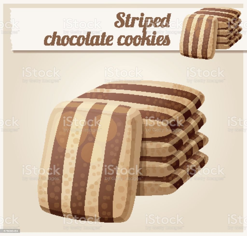 Striped chocolate cookies. Cartoon vector illustration. Series of food and drink and ingredients for cooking. vector art illustration