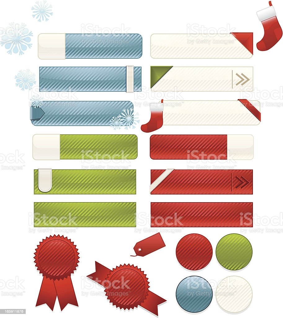Striped Christmas Interface Icons, Buttons, Stickers Set: Blue, Green, Red royalty-free stock vector art