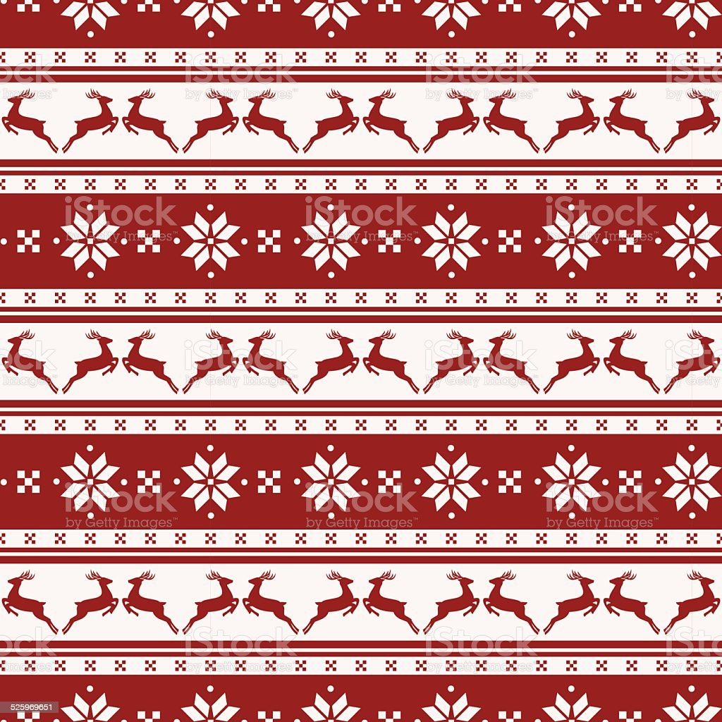 Striped christmas pattern with deers. Vector seamless background. vector art illustration
