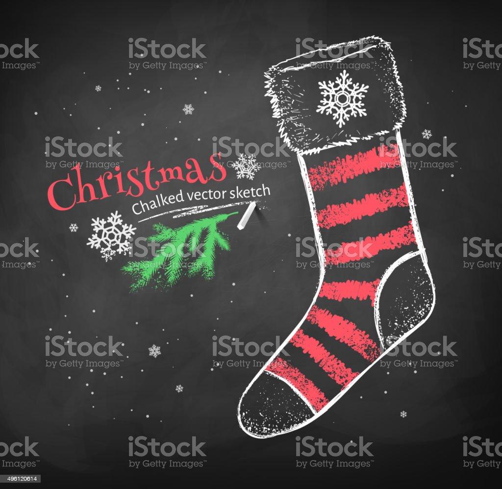 Striped Christmas sock. vector art illustration