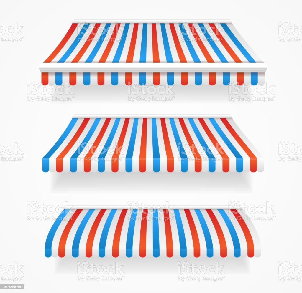 Striped Colorful Awnings Set. Vector vector art illustration