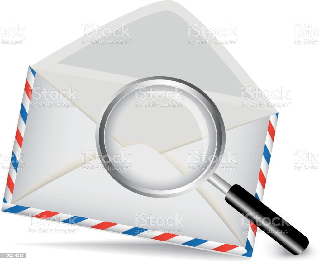 striped envelope and magnifying glass royalty-free stock vector art
