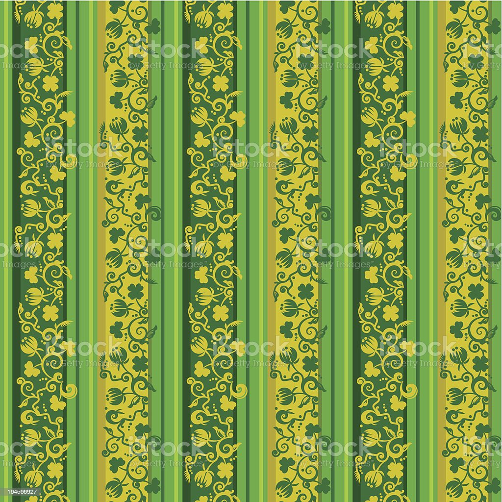 Striped floral background, seamless pattern included royalty-free stock vector art