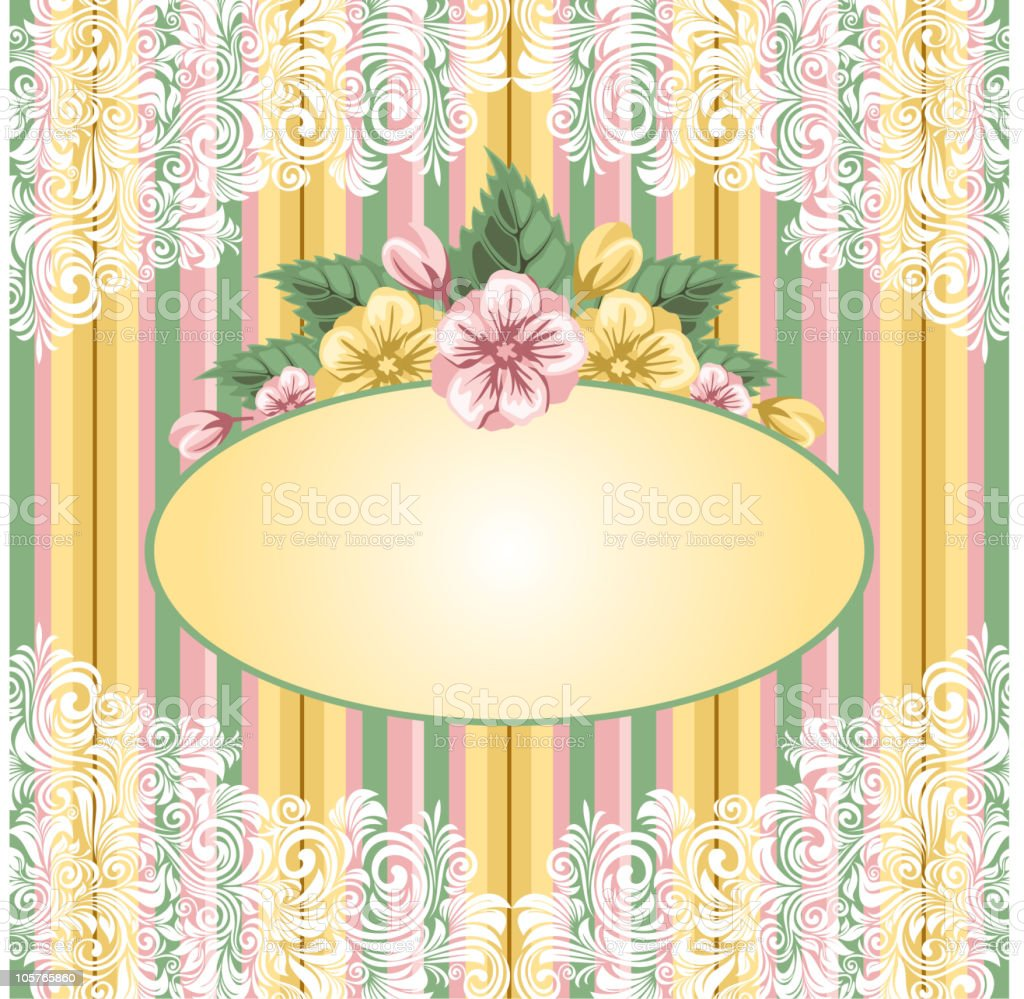 striped floral background royalty-free stock vector art