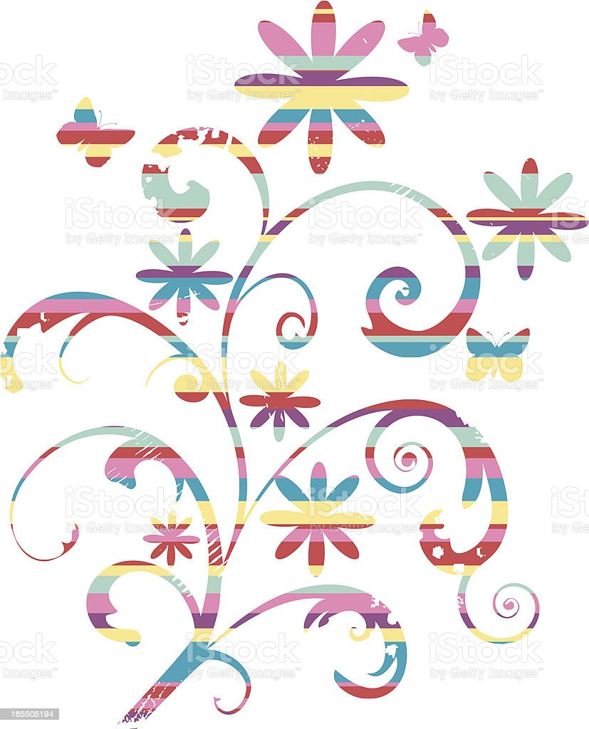 Striped Flowers vector art illustration