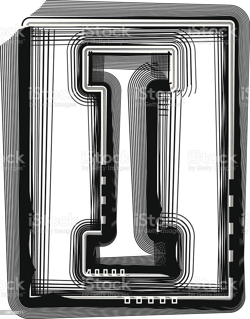 Striped Font Letter I royalty-free stock vector art