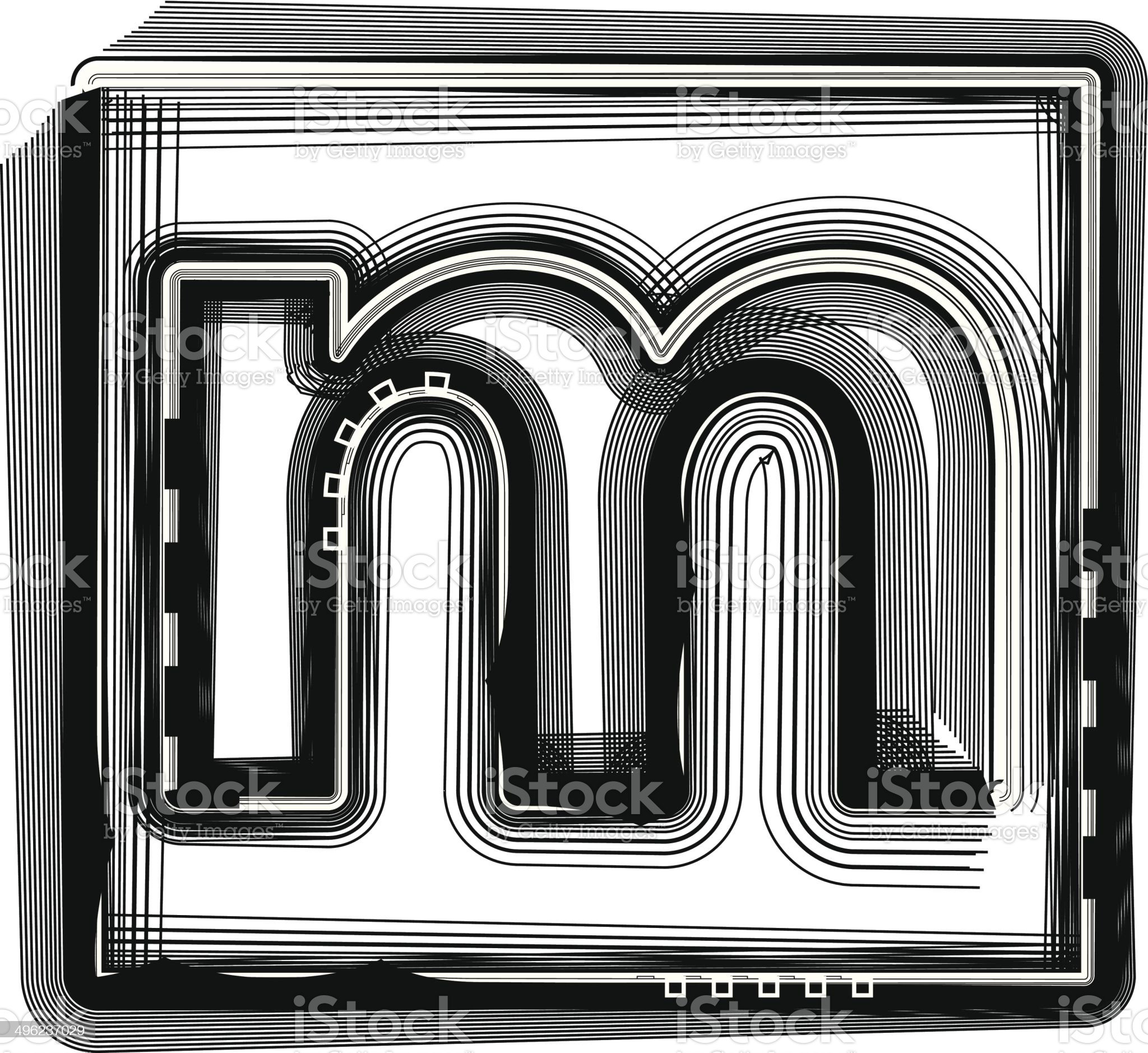 Striped font LETTER m royalty-free stock vector art