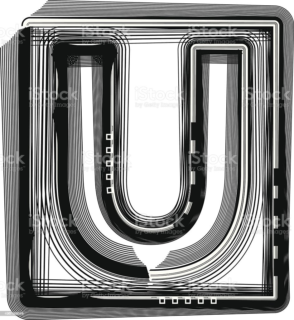 Striped Font Letter U royalty-free stock vector art