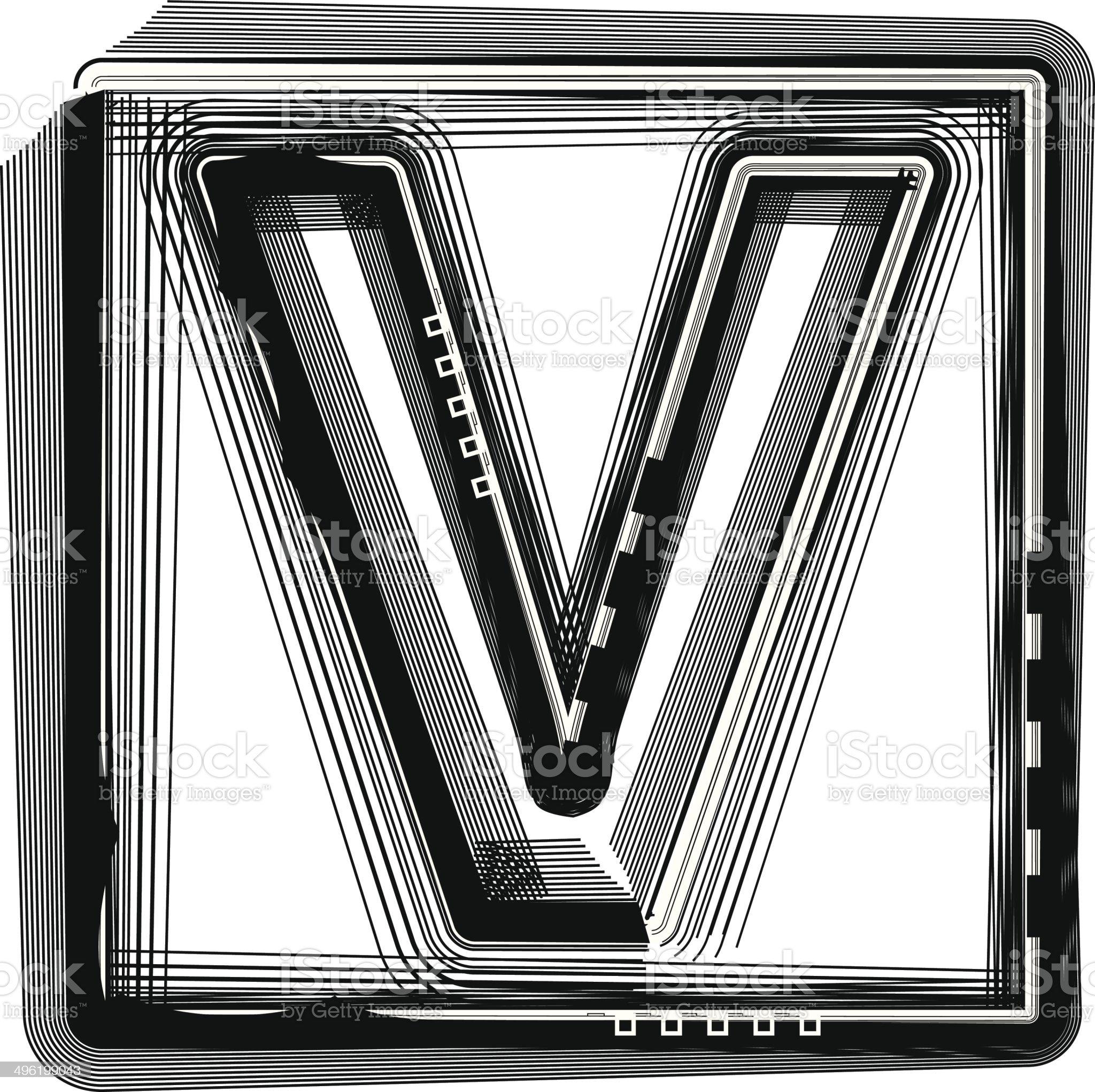 Striped Font Letter V royalty-free stock vector art