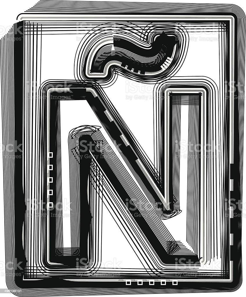 Striped Font Letter ? royalty-free stock vector art