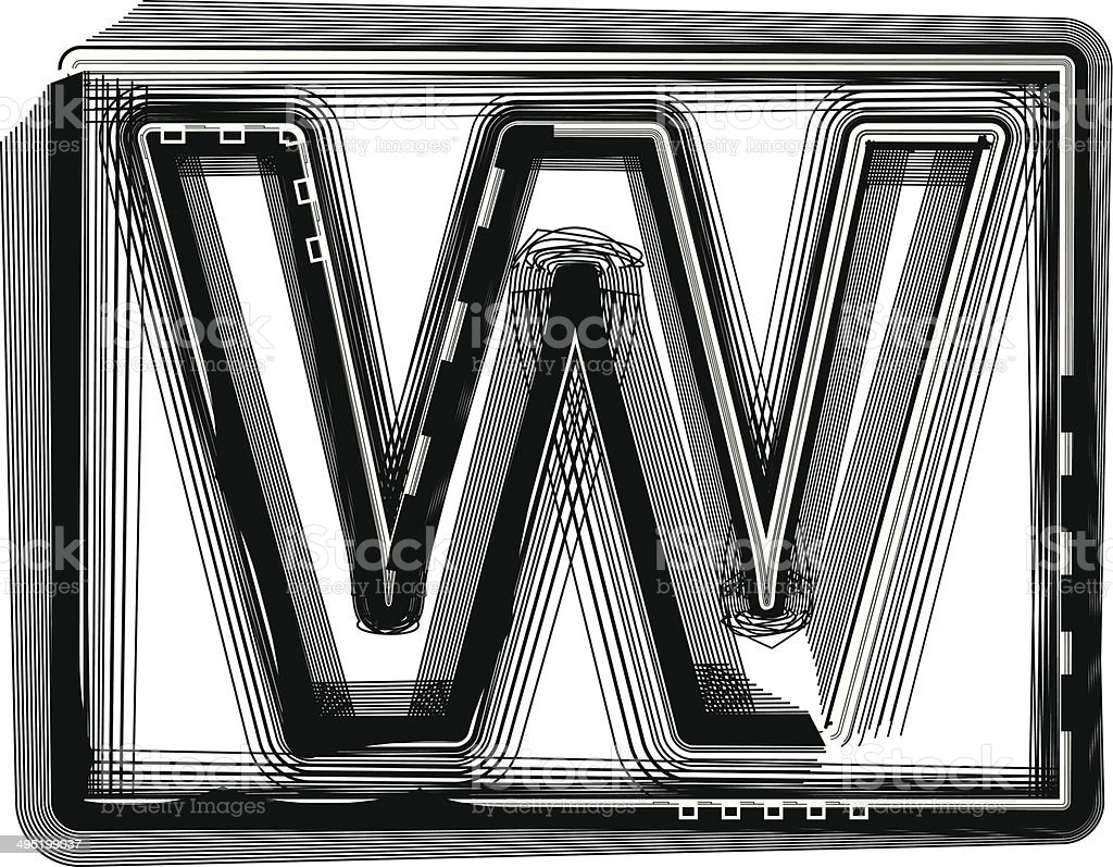 Striped Font Letter W royalty-free stock vector art