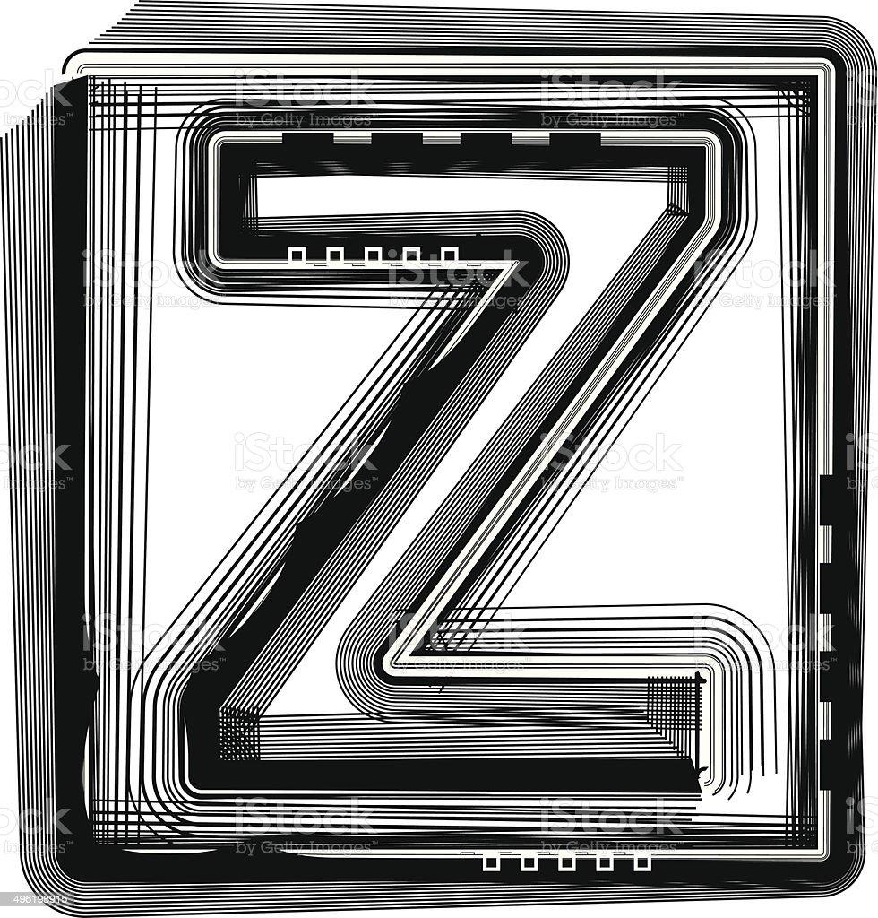 Striped Font Letter Z royalty-free stock vector art