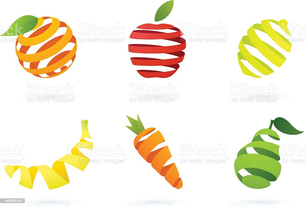 Striped fruits vector art illustration