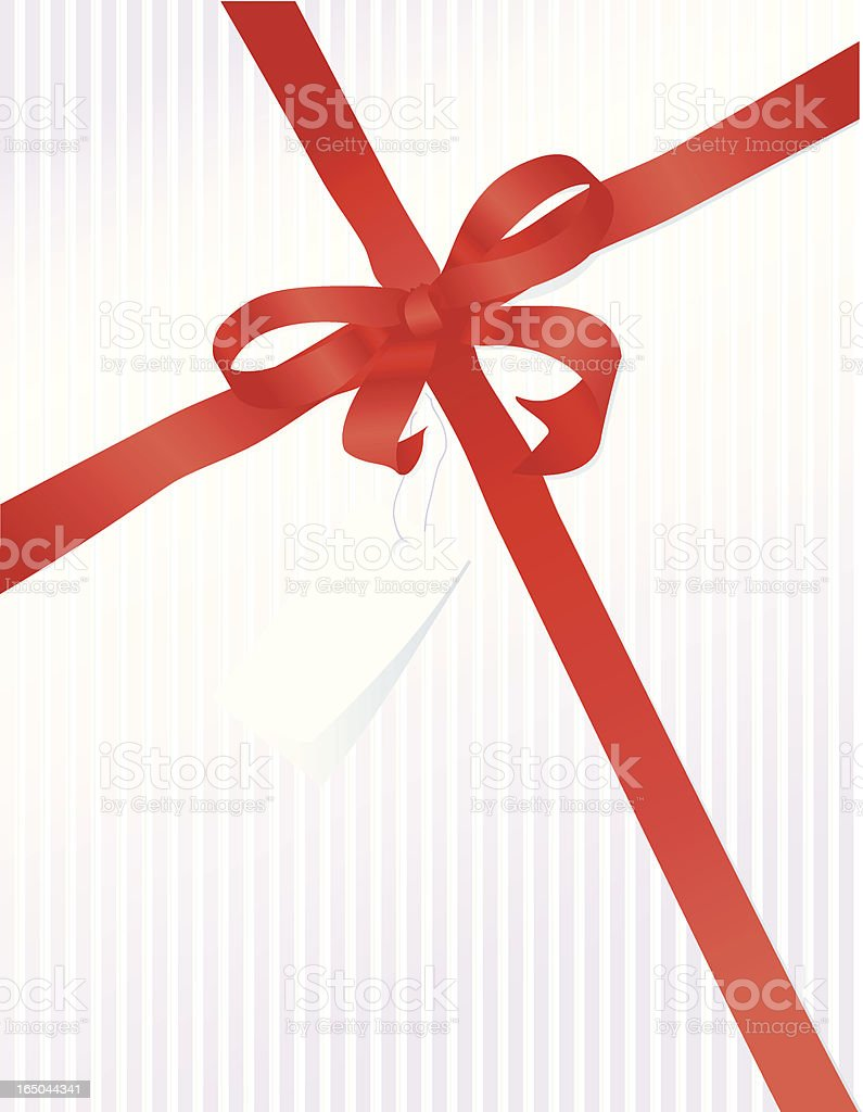 Striped Gift with Red Ribbon royalty-free stock vector art