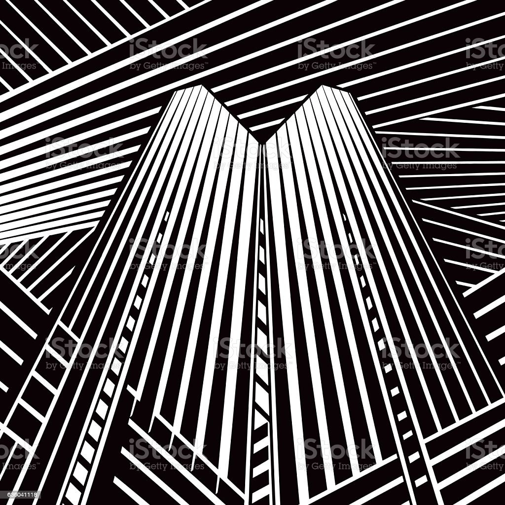 Striped Halftone Pattern Suggesting A Skyscraper and Cyberspace vector art illustration