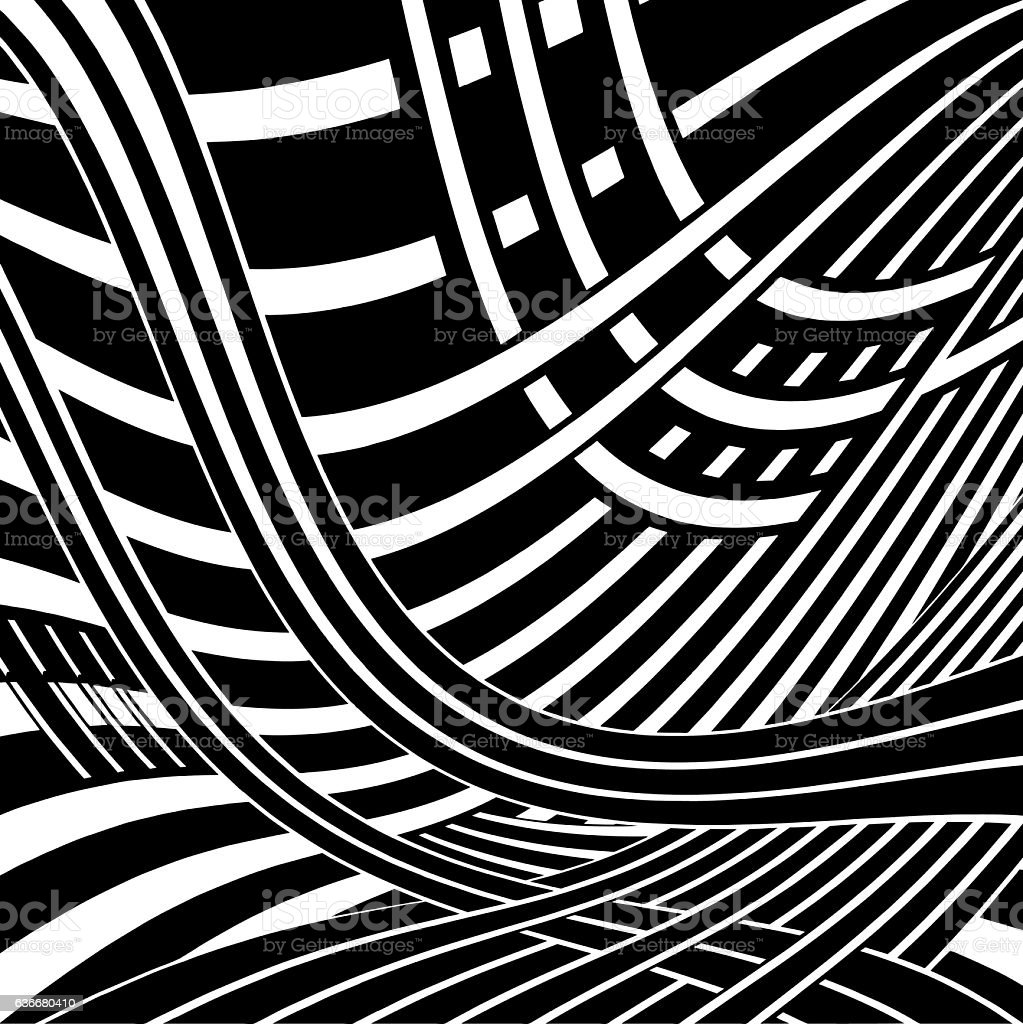 Striped Halftone Pattern Suggesting Cyberspace vector art illustration