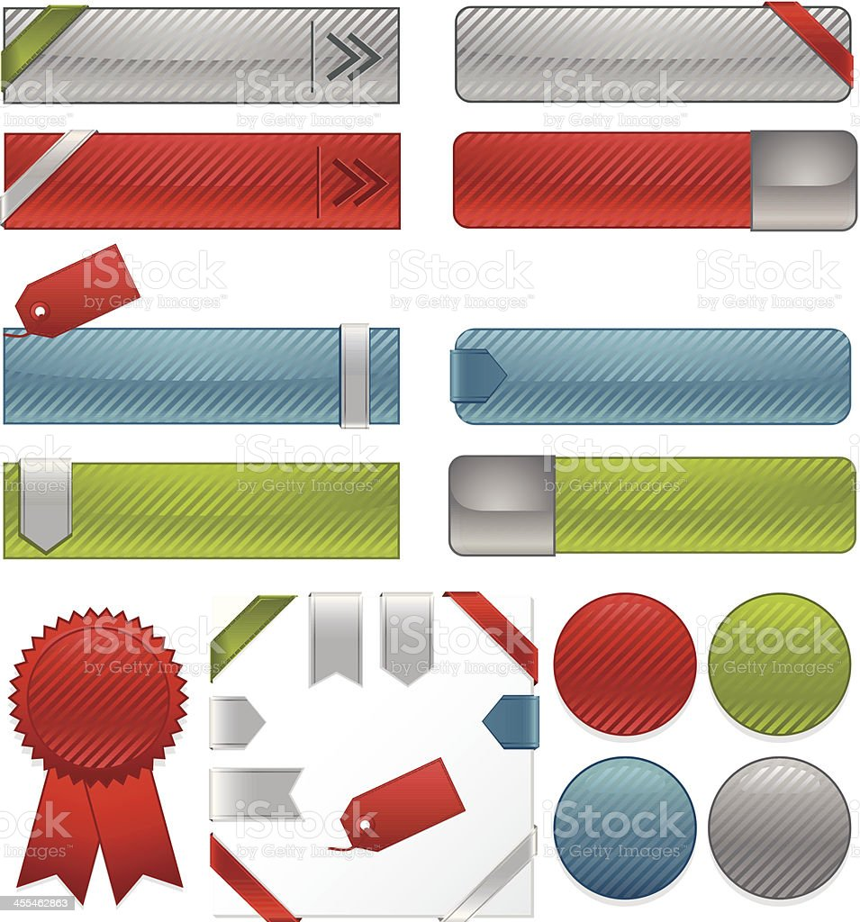 Striped Interface Icons, Ribbons, Stickers Set: Blue, Green, Red, Silver royalty-free stock vector art