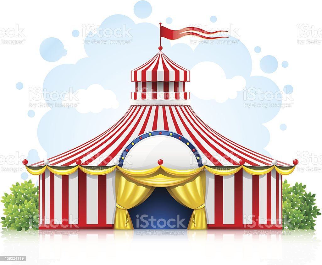 striped itinerant circus marquee tent with flag royalty-free stock vector art