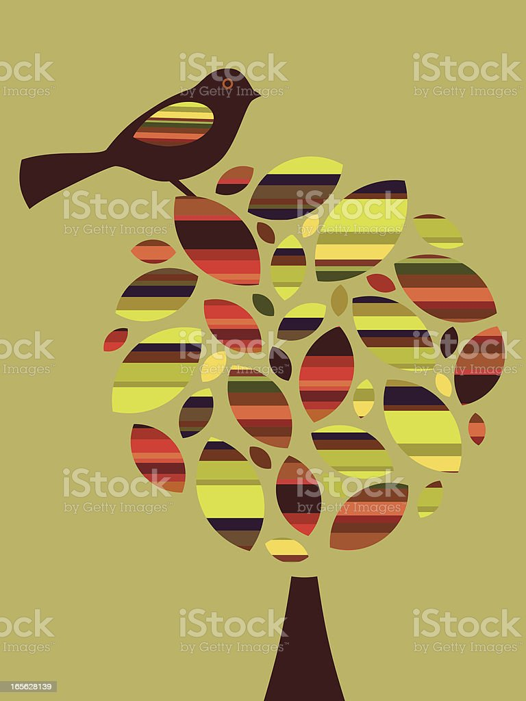 Striped Leaf Tree and Bird royalty-free stock vector art