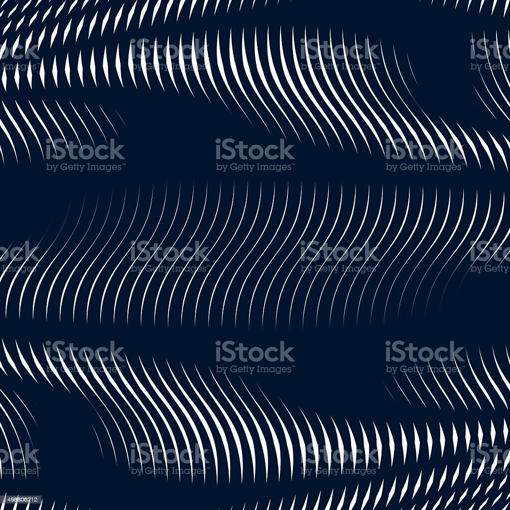 Striped  psychedelic background with black and white moire lines vector art illustration