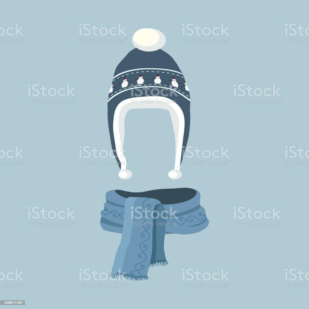 Striped Scarf Isolated Winter Hat vector art illustration