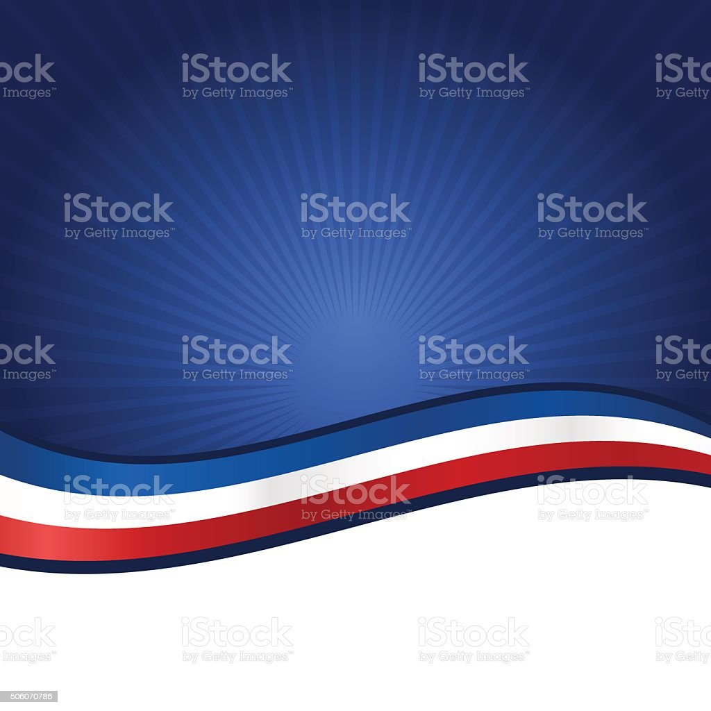 Striped USA flag banner on blue background vector art illustration