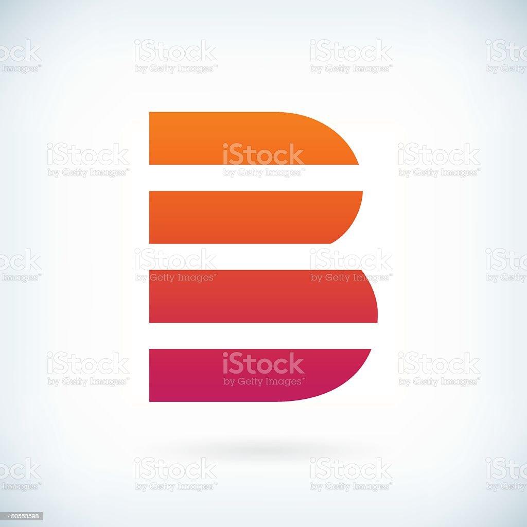 stripes letter B icon design element template vector art illustration