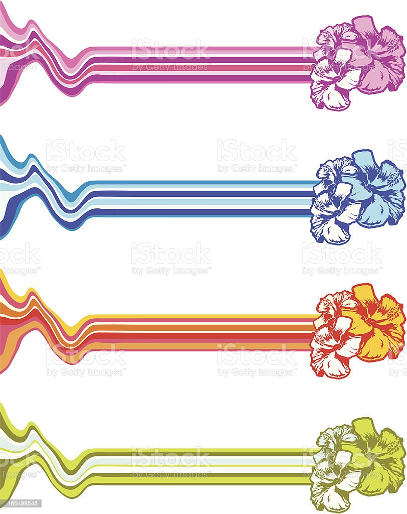 stripes with realistic hibiscus royalty-free stock vector art