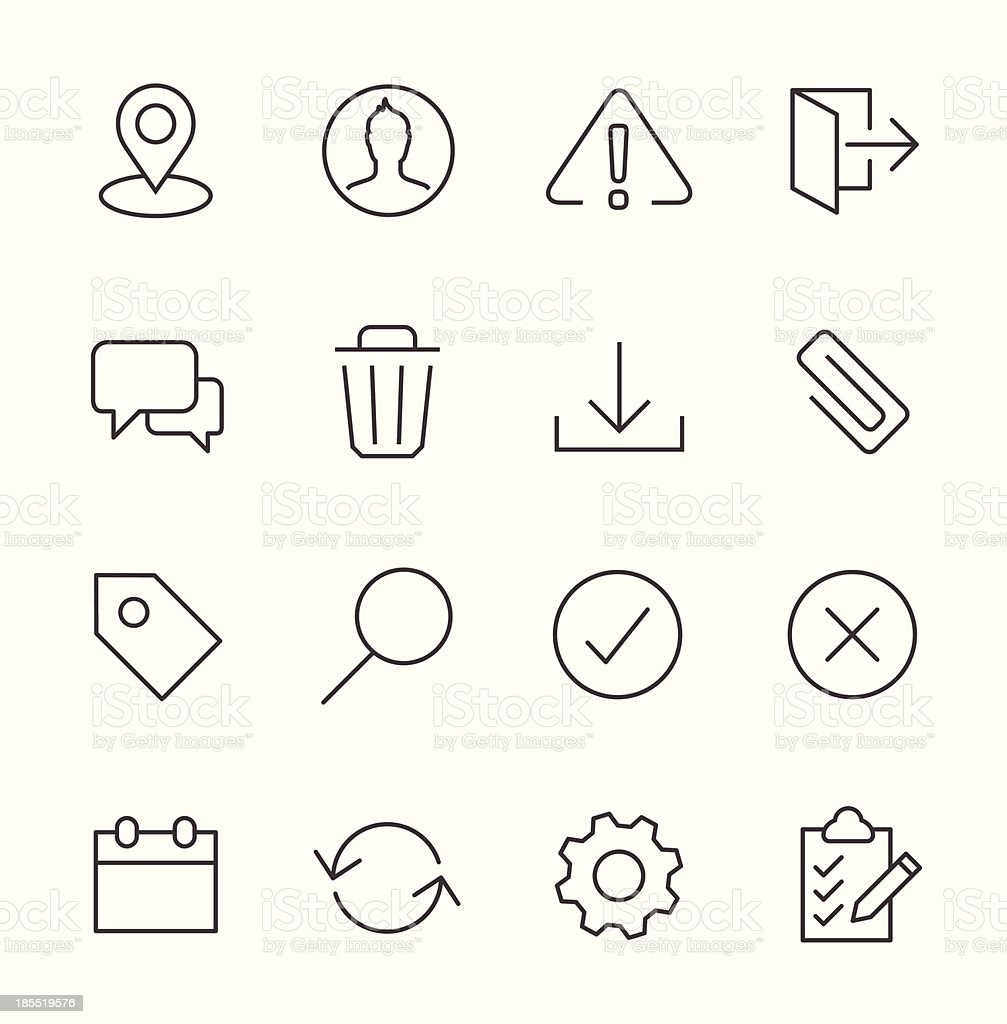 Stroked interface icon set. vector art illustration