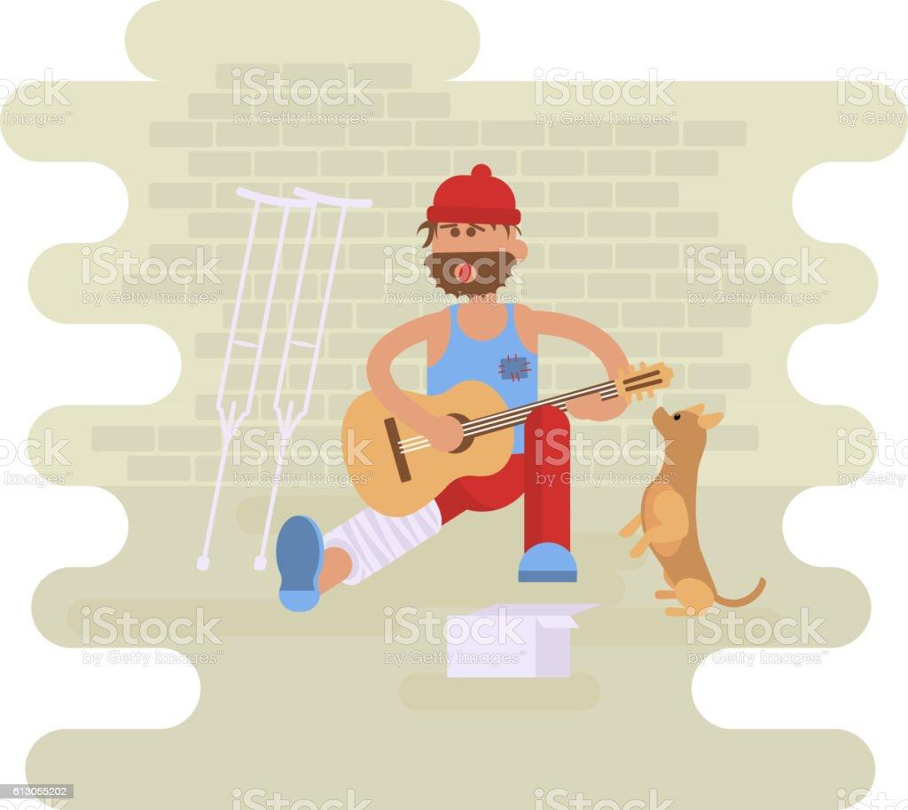 Strolling musician. Homeless man vector art illustration