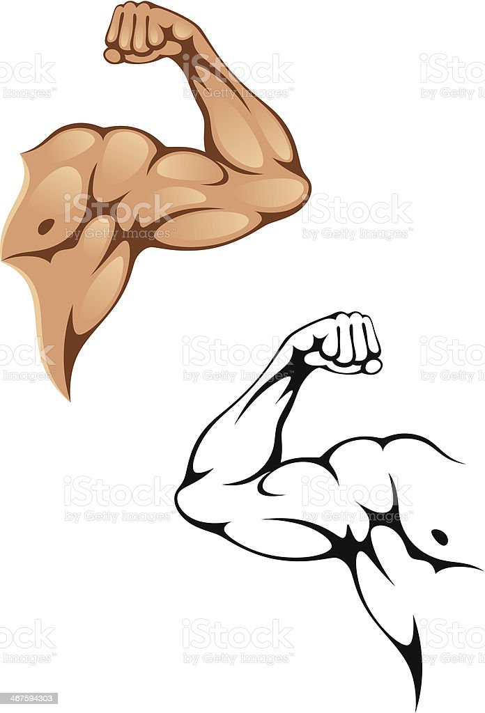 Strong arm cartoons with colors and outlines royalty-free stock vector art