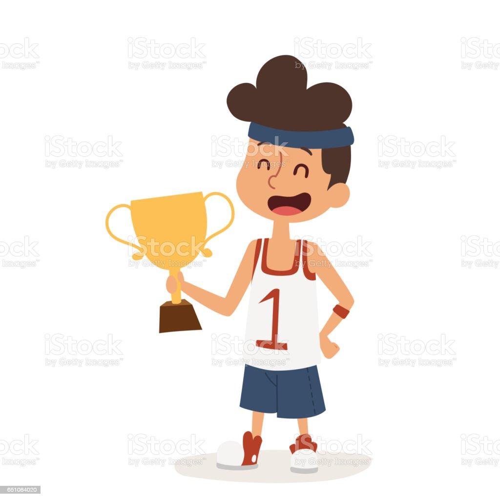 strong athletic looking boy sportsman muscles award cartoon