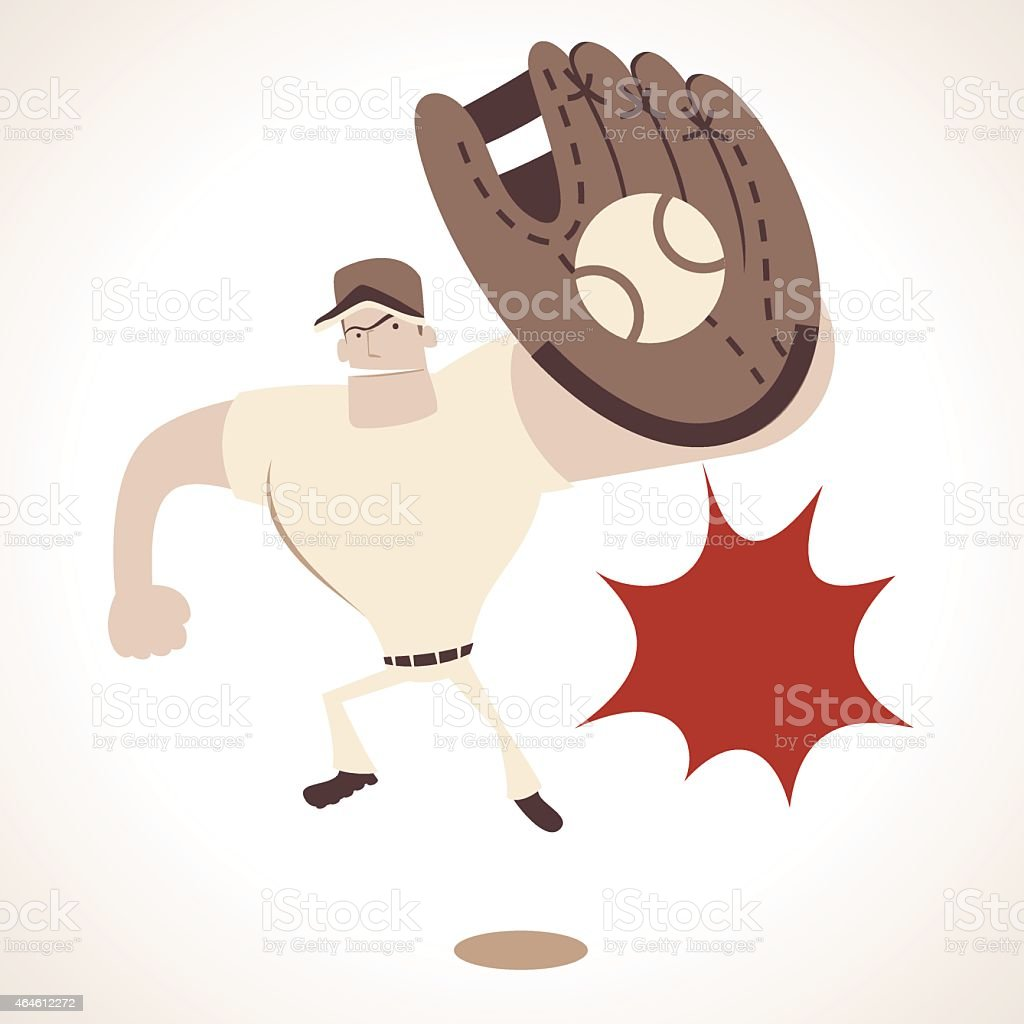 Strong baseball player with glove, diving catch out vector art illustration
