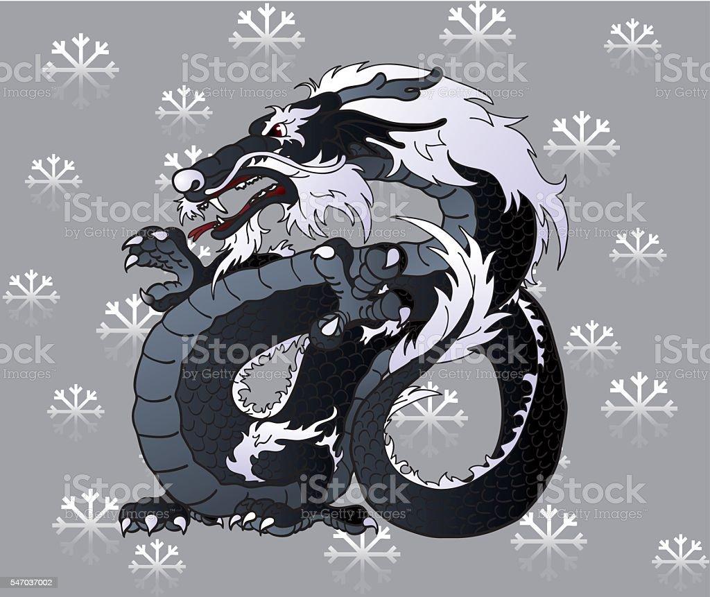 Strong black Asian dragon on snowflakes vector art illustration