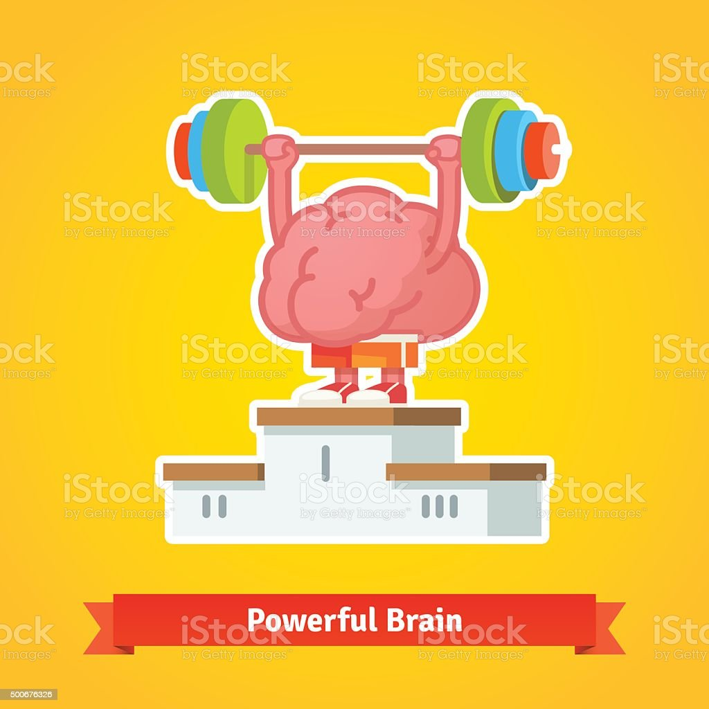 Strong brain takes first place on winning pedestal vector art illustration