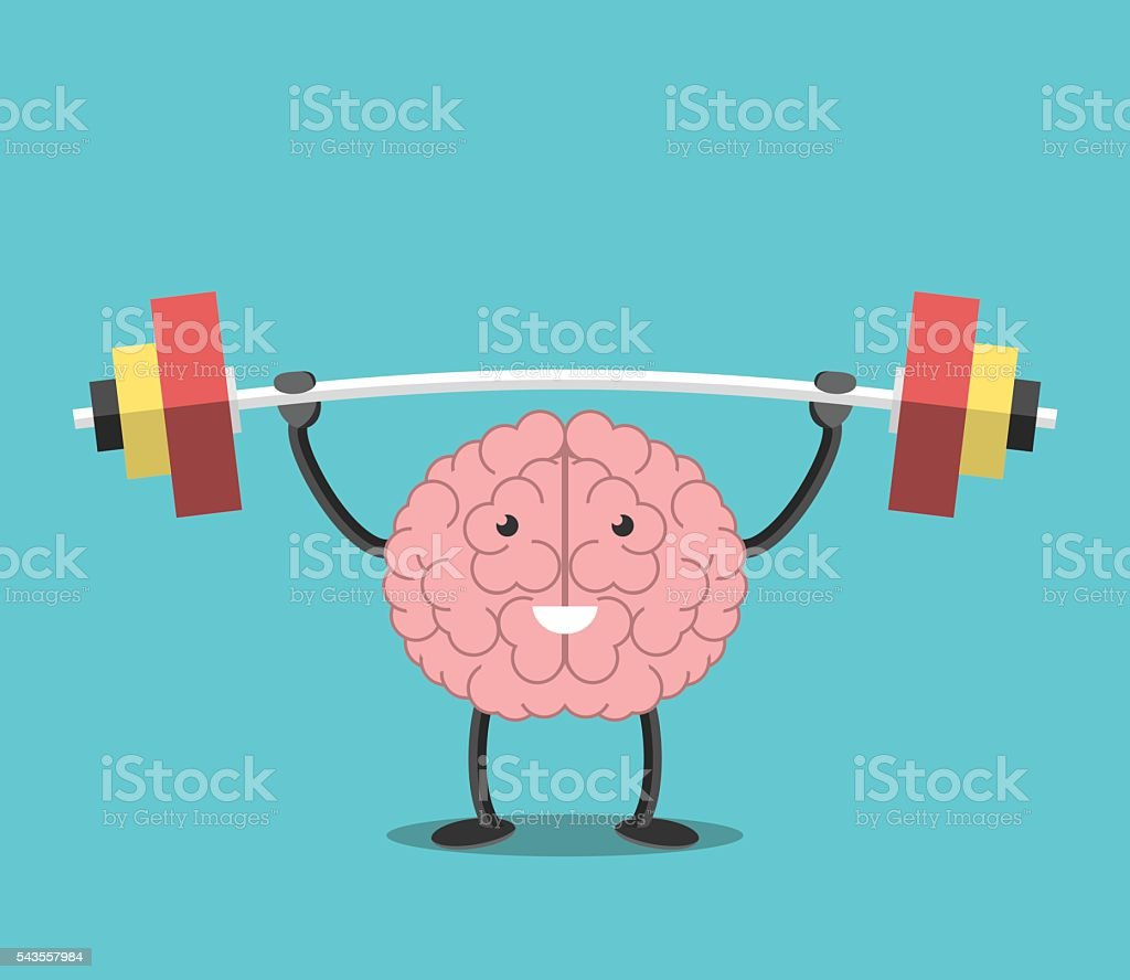Strong brain with barbell vector art illustration