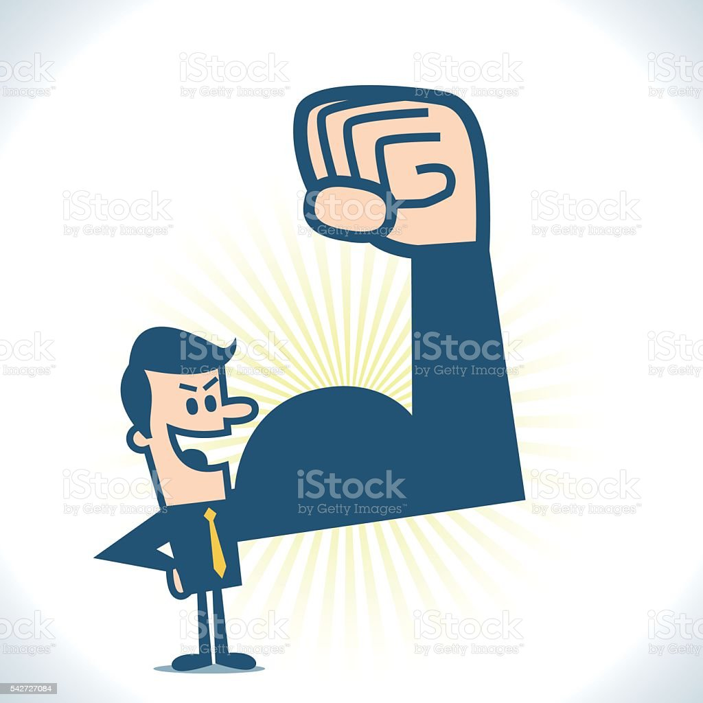 Strong businessman vector art illustration