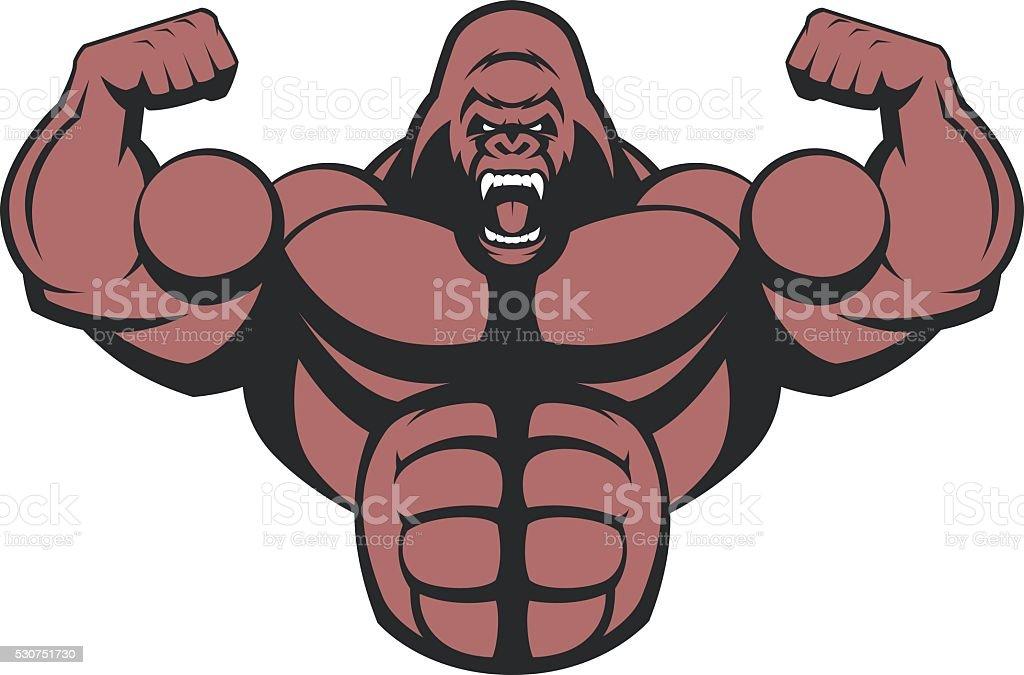 Strong ferocious gorilla. vector art illustration