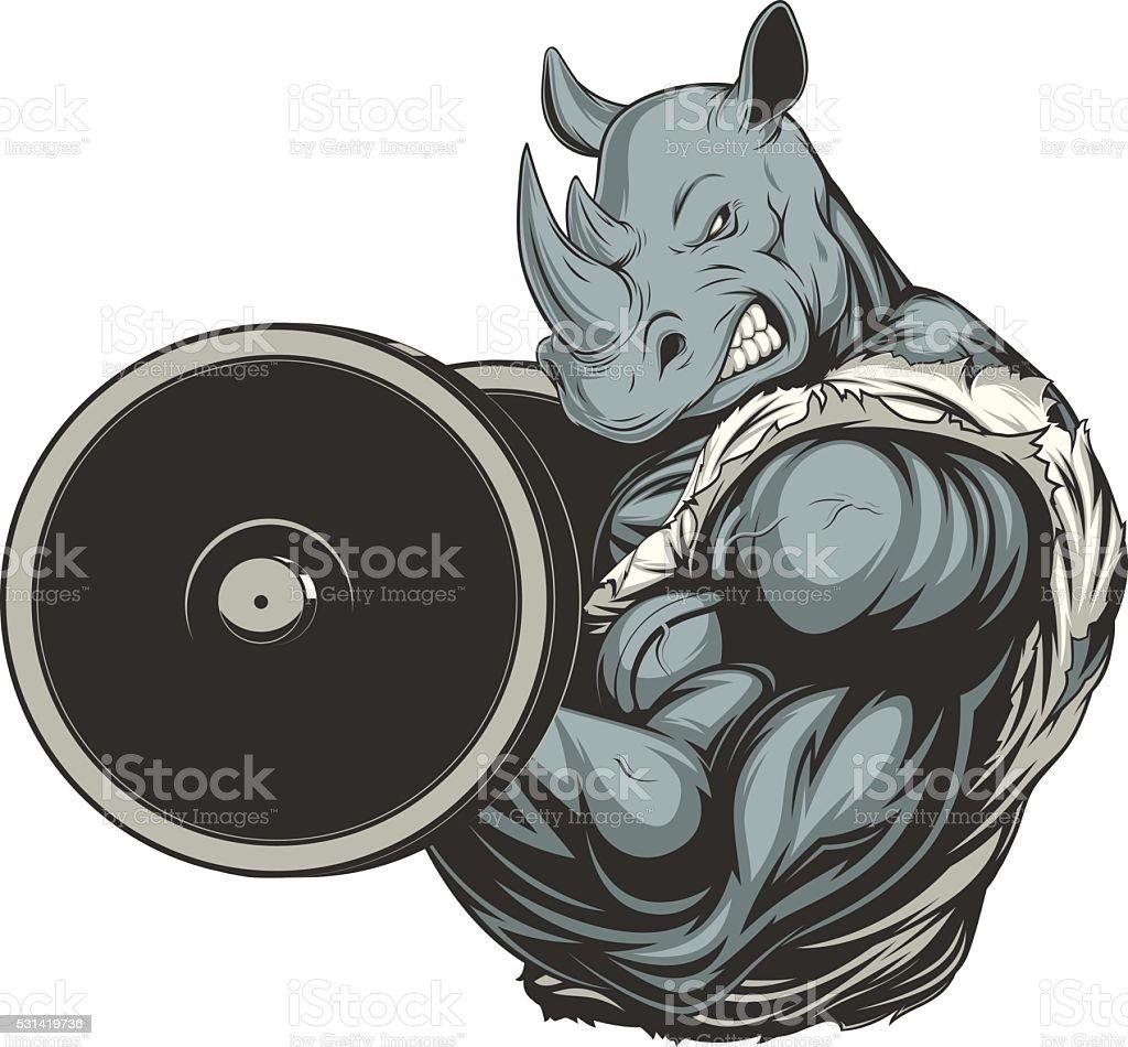 Strong ferocious rhino vector art illustration
