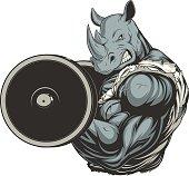 Strong ferocious rhino
