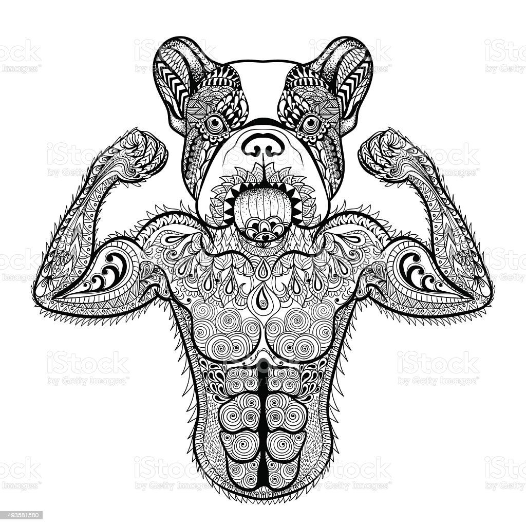 Strong French Bulldog Like Bodybuilder Stock Vector Art 493581580
