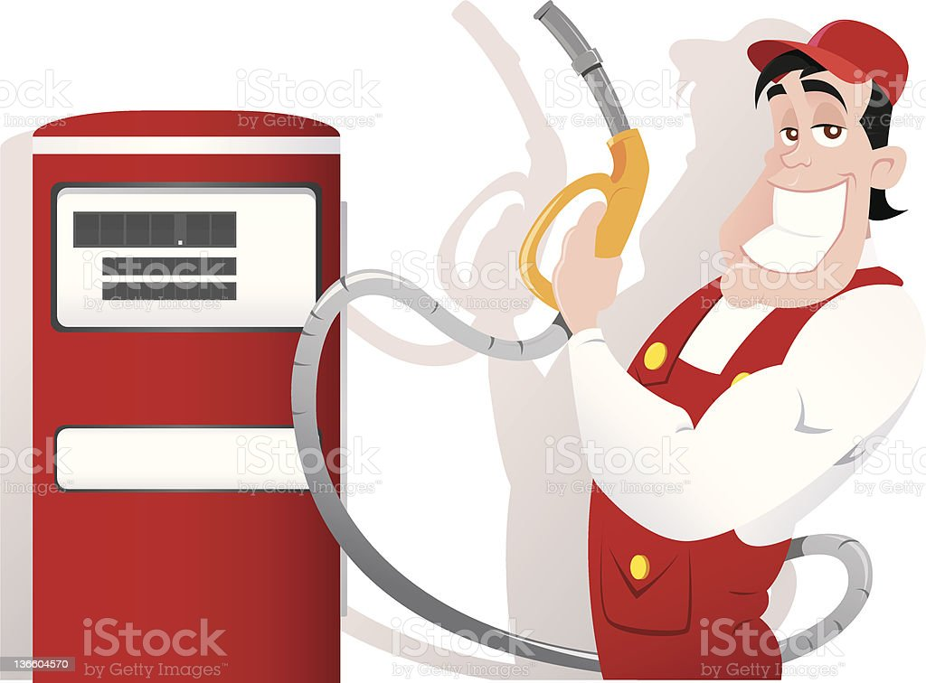 Strong gas station worker in the uniform royalty-free stock vector art