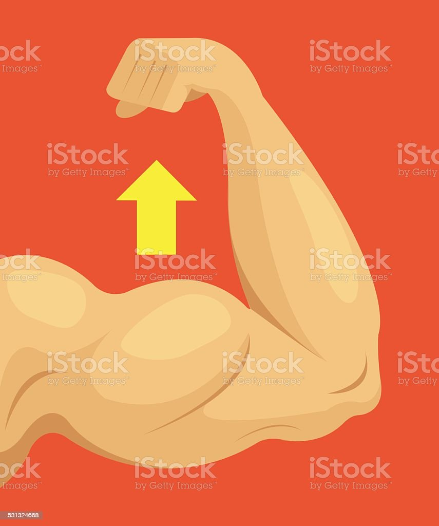 Strong hand. Vector flat cartoon illustration vector art illustration