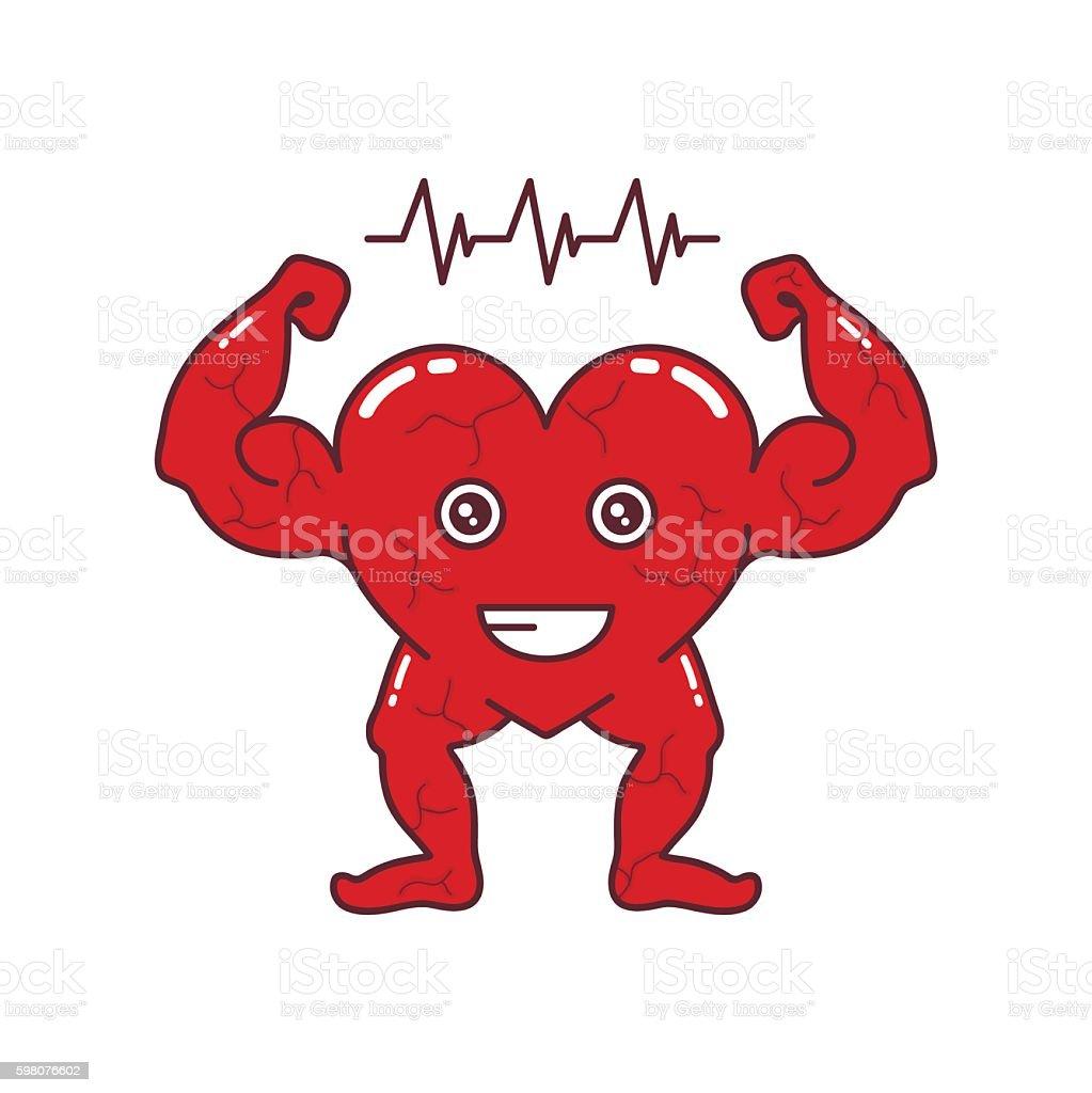 Strong heart character vector design fitness art vector art illustration
