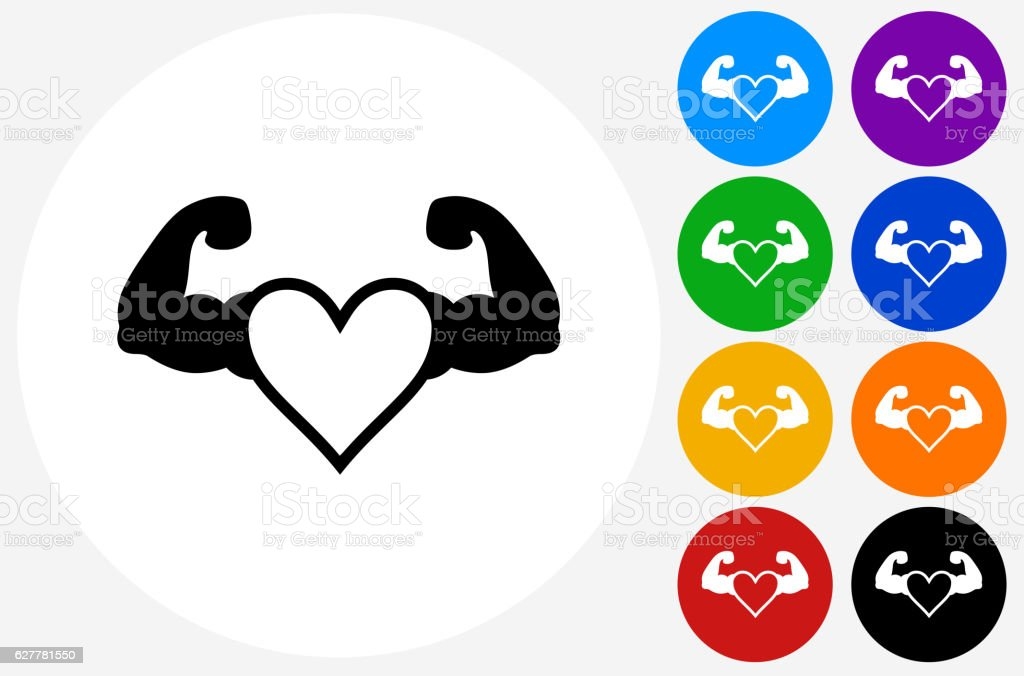 Strong Heart Icon on Flat Color Circle Buttons vector art illustration